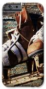 Vintage Pair Of Mens  Ice Skates Hanging On A Wooden Wall With C IPhone Case by Mikhail Olykaynen