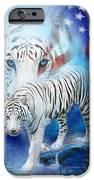 White Tiger Moon - Patriotic IPhone Case by Carol Cavalaris