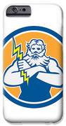 Zeus Greek God Arms Cross Thunderbollt Circle Retro IPhone Case by Aloysius Patrimonio