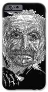 Black And White With Pen And Ink Drawing Of A Old Man  IPhone Case by Mario  Perez