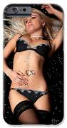 Blond In Black Lingerie Covered In Diamonds IPhone Case by Richard Thomas