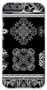 Coffee Flowers Ornate Medallions Bw 6 Piece Collage Framed  IPhone Case by Angelina Vick