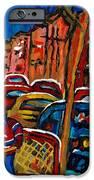 Verdun Rowhouses With Hockey - Paintings Of Verdun Montreal Street Scenes In Winter IPhone Case by Carole Spandau