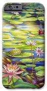 Water Lilies At Mckee Gardens I - Turtle Butterfly And Koi Fish IPhone Case by Nancy Tilles