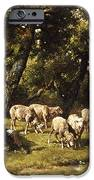 A Shepherd And His Flock IPhone Case by Charles Emile Jacques