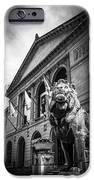 Art Institute Of Chicago Lion Statue In Black And White IPhone Case by Paul Velgos