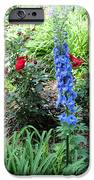 Blue Hollyhock And Red Roses IPhone Case by Corey Ford
