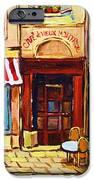 Cafe De Vieux Montreal With Couple IPhone Case by Carole Spandau