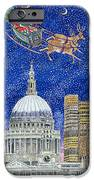 Father Christmas Flying Over London IPhone Case by Catherine Bradbury
