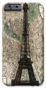 Paris Vintage Map And Eiffel Tower IPhone Case by Georgia Fowler