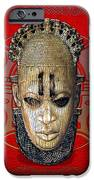 Queen Mother Idia - Ivory Hip Pendant Mask - Nigeria - Edo Peoples - Court Of Benin On Red Leather IPhone Case by Serge Averbukh