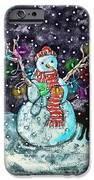 Snowman And Cat IPhone Case by Catherine Martha Holmes