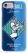 Baseball Hitter Batting Diamond Retro IPhone Case by Aloysius Patrimonio