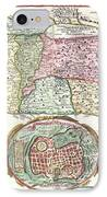 1632 Tirinus Map Of The Holy Land IPhone Case by Paul Fearn