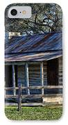 1860 Log Cabins IPhone Case by Linda Phelps