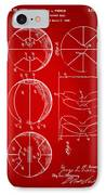 1929 Basketball Patent Artwork - Red IPhone Case by Nikki Marie Smith