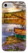 Canoe At The Lake IPhone Case by Debra and Dave Vanderlaan