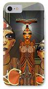 338 - Aliens With Egyptian Touch IPhone Case by Irmgard Schoendorf Welch