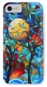 Abstract Contemporary Colorful Landscape Painting Lovers Moon By Madart IPhone Case by Megan Duncanson