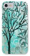 Abstract Floral Birds Landscape Painting Bird Haven II By Megan Duncanson IPhone Case by Megan Duncanson
