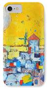Abstract Santorini - Oia Before Sunset IPhone Case by Ana Maria Edulescu