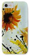 Abstract Sunflowers 2 IPhone Case by Ismeta Gruenwald