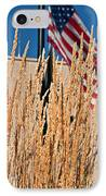 Amber Waves Of Grain And Flag IPhone Case by Valerie Garner