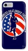 American Marathon Runner Running Power Retro IPhone Case by Aloysius Patrimonio