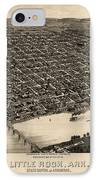 Antique Map Of Little Rock Arkansas By H. Wellge - 1887 IPhone Case by Blue Monocle