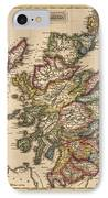 Antique Map Of Scotland By Fielding Lucas - Circa 1817 IPhone Case by Blue Monocle