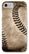 Baseball Old And Worn IPhone Case by Paul Ward