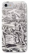 Battle Between Tuppin Tribes IPhone Case by Theodore De Bry