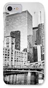 Black And White Picture Of Chicago At Lasalle Bridge IPhone Case by Paul Velgos