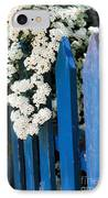 Blue Garden Fence With White Flowers IPhone Case by Elena Elisseeva