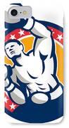 Boxer Boxing Punching Jabbing Retro IPhone Case by Aloysius Patrimonio