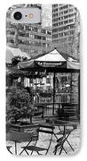 Bryant Park Tables Mono IPhone Case by John Rizzuto