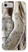 Buddha Head In Tree Wat Mahathat Ayutthaya  Thailand IPhone Case by Fototrav Print