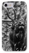 Bull Elk Bugling Black And White IPhone Case by Ron White