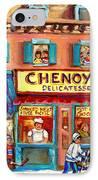 Chenoys Delicatessen Montreal Landmarks Painting  Carole Spandau Street Scene Specialist Artist IPhone Case by Carole Spandau