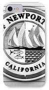 City Of Newport Beach Sign Black And White Picture IPhone Case by Paul Velgos