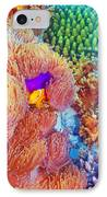 Clown Fish Swimming Near Colorful Corals IPhone Case by Anna Omelchenko