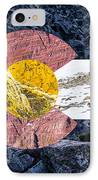 Colorado State Flag With Mountain Textures IPhone Case by Aaron Spong