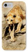 Cougar Hunting IPhone Case by Ray Downing