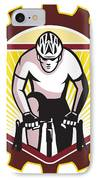 Cyclist Riding Bicycle Cycling Front Sprocket Retro IPhone Case by Aloysius Patrimonio