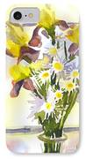 Daisies With Yellow Irises IPhone Case by Kip DeVore