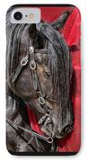 Dark Horse Against Red Dress IPhone Case by Jennie Marie Schell