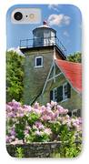 Door County Eagle Bluff Lighthouse Lilacs IPhone Case by Christopher Arndt