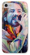 Eddie Vedder In Pink And Blue IPhone Case by Joshua Morton
