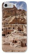 facade street in Nabataean ancient town Petra IPhone Case by Juergen Ritterbach