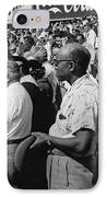 Fans At Yankee Stadium Stand For The National Anthem At The Star IPhone Case by Underwood Archives